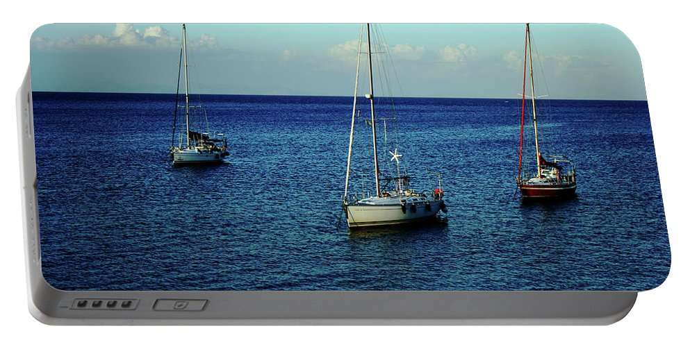 Greece Portable Battery Charger featuring the photograph Sailing The Blue Waters Of Greece by La Dolce Vita