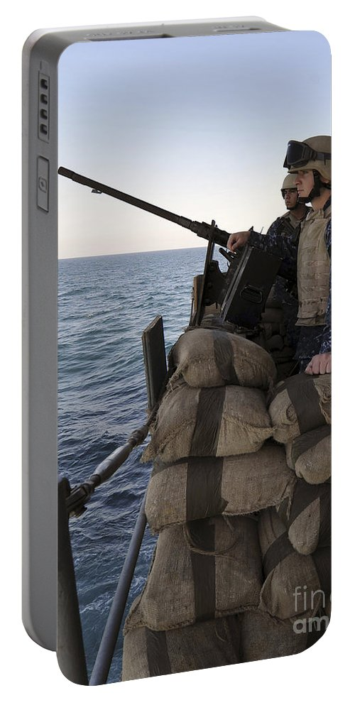 Operation Enduring Freedom Portable Battery Charger featuring the photograph Sailors Stand Small Caliber Attack Team by Stocktrek Images