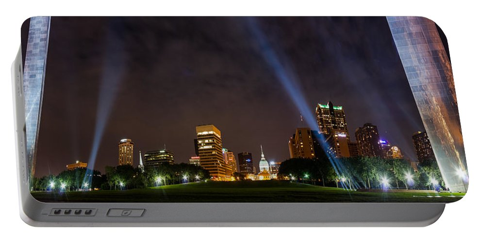 Abstract Portable Battery Charger featuring the photograph Saint Louis Lights by Semmick Photo