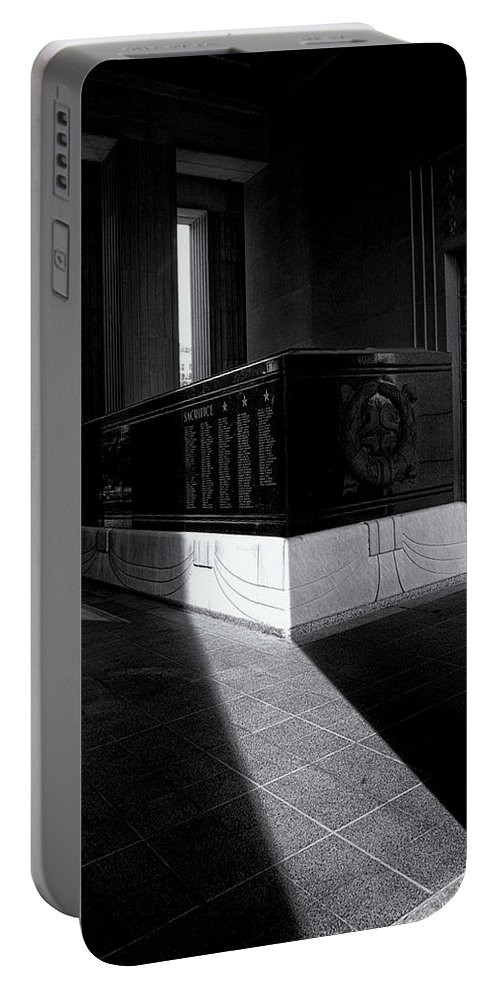 Saint Louis Soldiers Memorial Portable Battery Charger featuring the photograph Saint Louis Soldiers Memorial Black And White by Joshua House