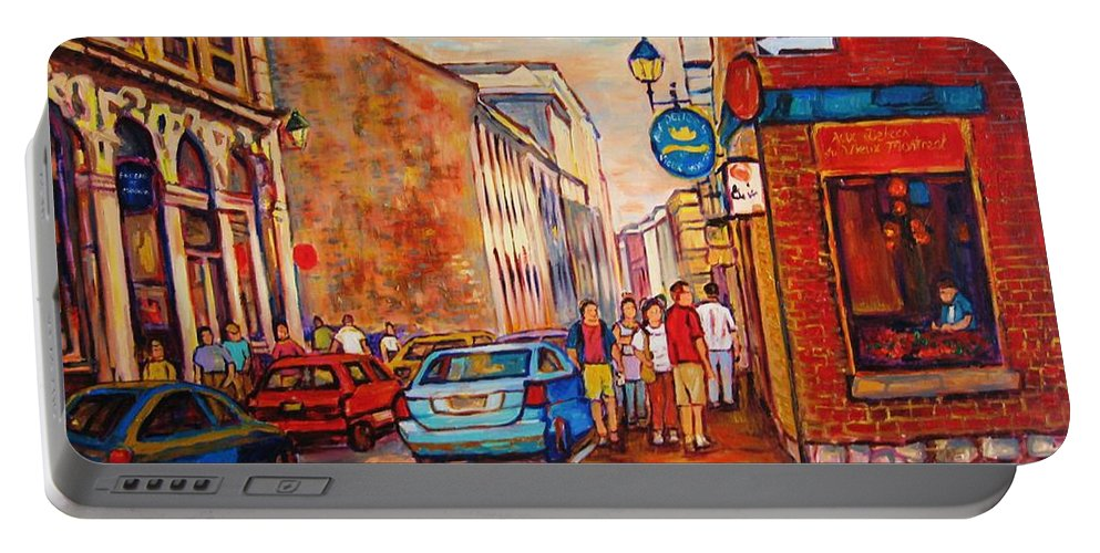 Streetscene Portable Battery Charger featuring the painting Saint Paul Street Montreal by Carole Spandau