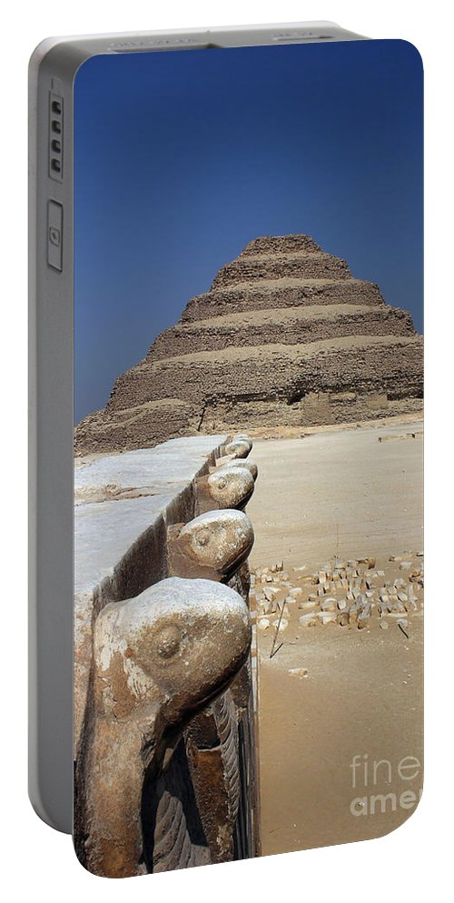 1st Egyptian Pyramid Portable Battery Charger featuring the photograph Sakkara Pyramid by Darcy Michaelchuk