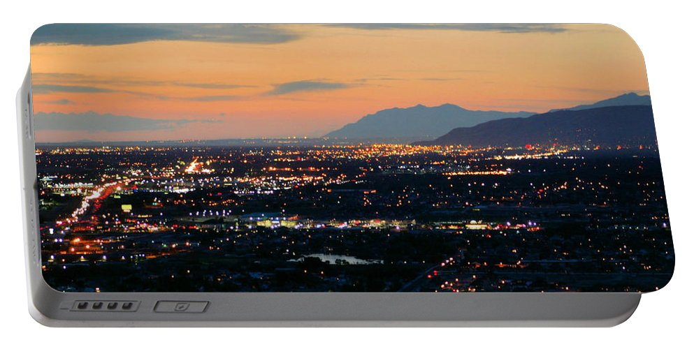 Salt Lake City Portable Battery Charger featuring the photograph Salt Lake Nightscape by Kristin Elmquist