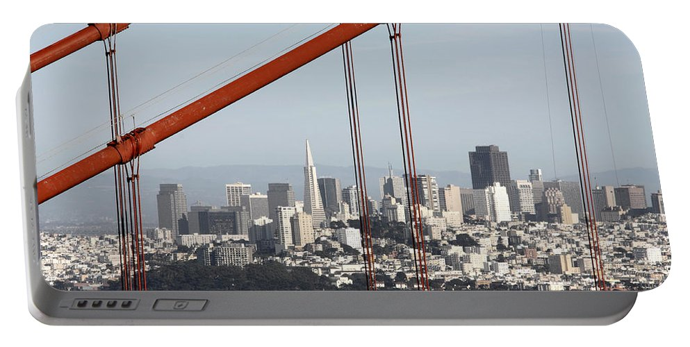 San Francisco Through The Cables Portable Battery Charger featuring the photograph San Francisco Through The Cables by Wes and Dotty Weber