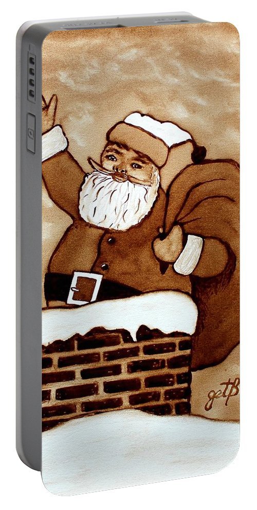 Santa Coffee Art Portable Battery Charger featuring the painting Santa Claus Gifts Original Coffee Painting by Georgeta Blanaru
