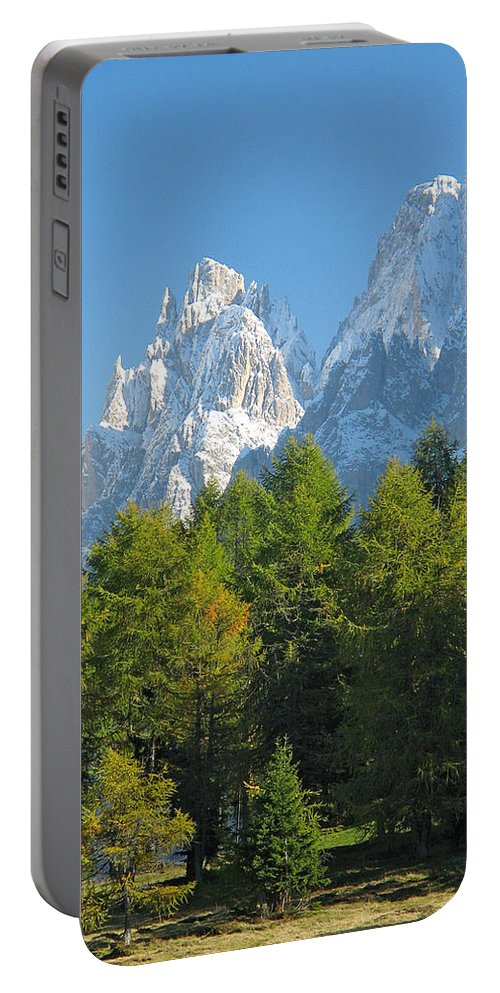 Sasso Lungo Portable Battery Charger featuring the photograph Sasso Lungo Group In The Dolomites Of Italy by Greg Matchick
