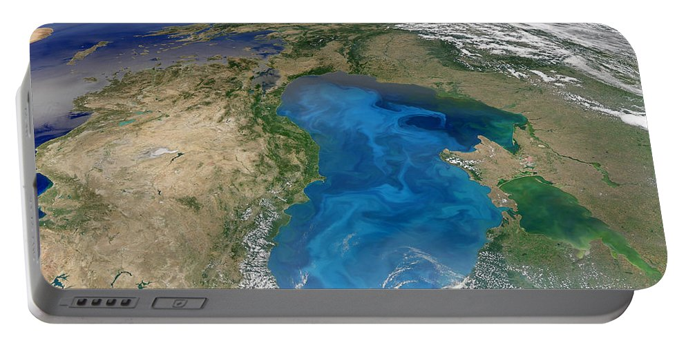 Color Image Portable Battery Charger featuring the photograph Satellite View Of Swirling Blue by Stocktrek Images