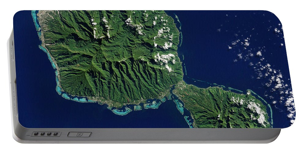 Color Image Portable Battery Charger featuring the photograph Satellite View Of Tahiti by Stocktrek Images