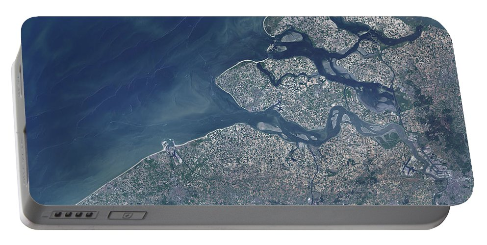 Color Image Portable Battery Charger featuring the photograph Satellite View Of The Belgium Coastline by Stocktrek Images