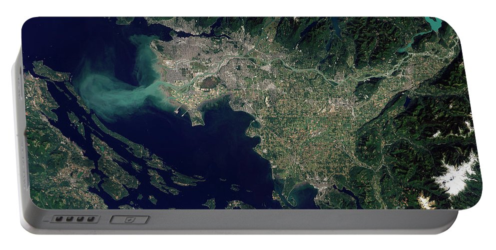 Color Image Portable Battery Charger featuring the photograph Satellite View Of The Frasier River by Stocktrek Images