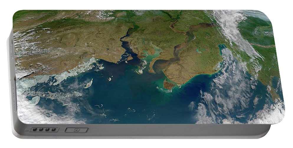 Color Image Portable Battery Charger featuring the photograph Satellite View Of The Ob And Yenisei by Stocktrek Images