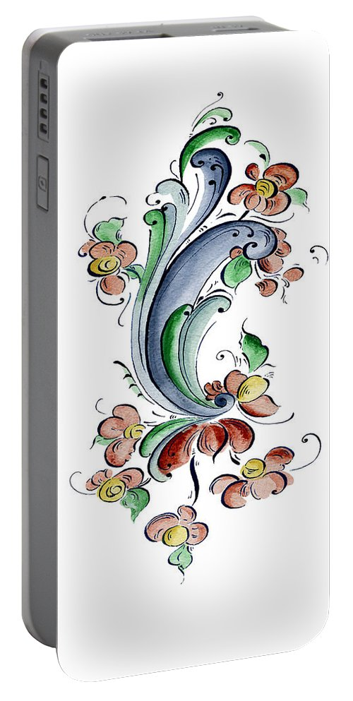 Cultural Connections Portable Battery Charger featuring the painting Scandinavian Flower I by Judy Dodds