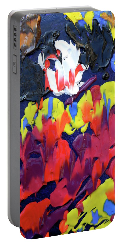 Clown Portable Battery Charger featuring the painting Scary Clown by Marwan George Khoury
