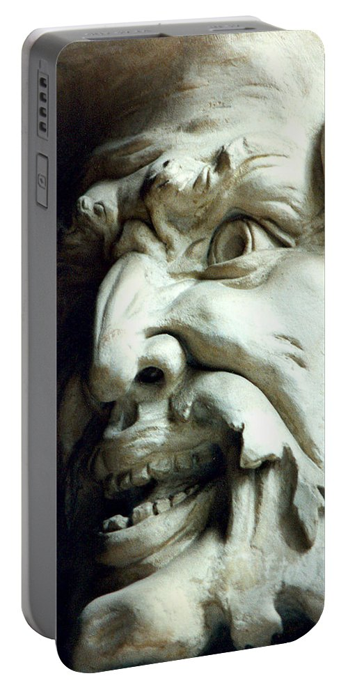 Gargoyle Portable Battery Charger featuring the photograph Scary Face by Diana Haronis