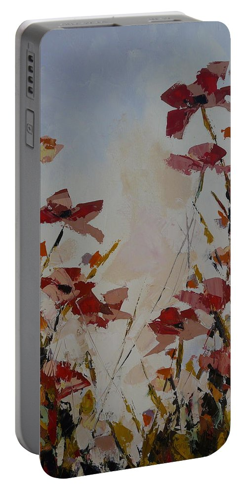 Flowers. Wild Portable Battery Charger featuring the painting Scatterling by Yvonne Ankerman
