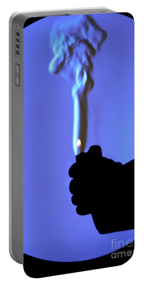 Schlieren Portable Battery Charger featuring the photograph Schlieren Image Of A Lighter by Ted Kinsman