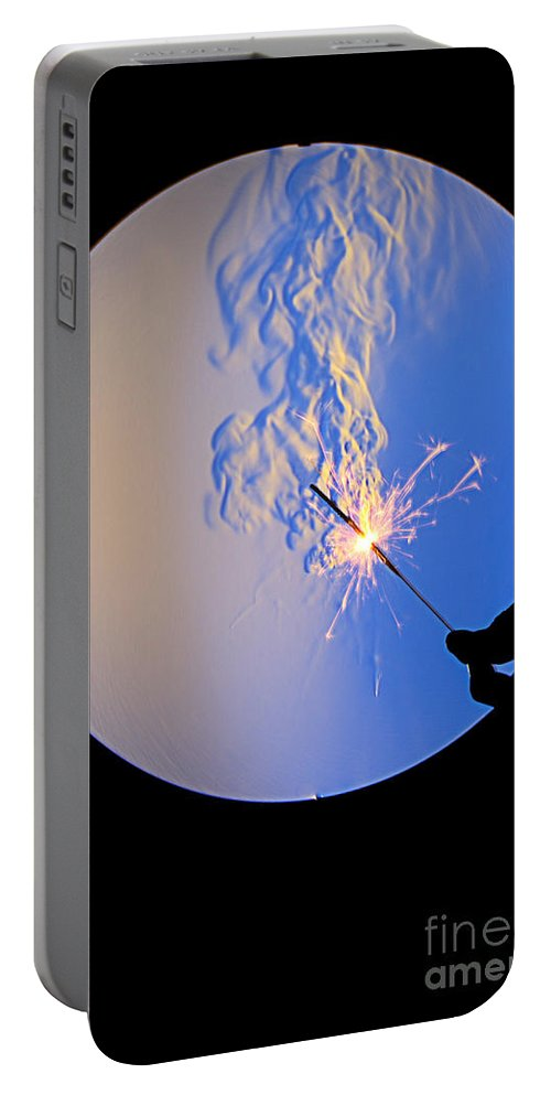 Schlieren Portable Battery Charger featuring the photograph Schlieren Image Of A Sparkler by Ted Kinsman