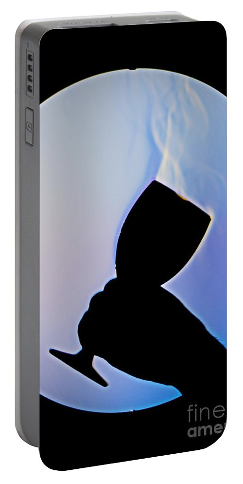 Schlieren Portable Battery Charger featuring the photograph Schlieren Image Of Wine Vapors by Ted Kinsman