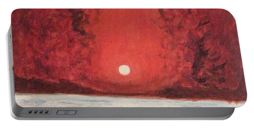 Reflection Of Moon Portable Battery Charger featuring the painting Sea And Moon by Sonali Gangane
