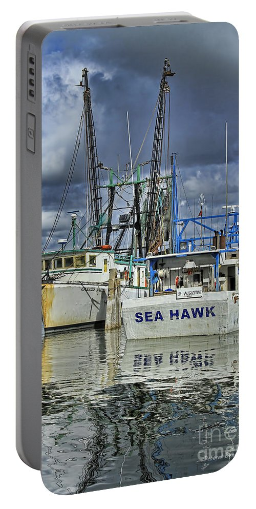 Boats Portable Battery Charger featuring the photograph Sea Hawk Under Cover by Deborah Benoit