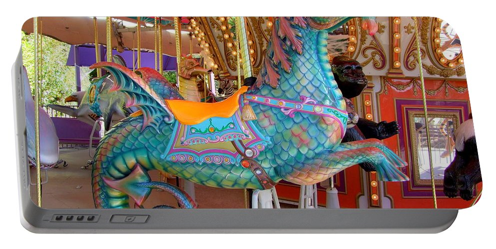 Mary Deal Portable Battery Charger featuring the photograph Sea Serpent Carousel Ride by Mary Deal