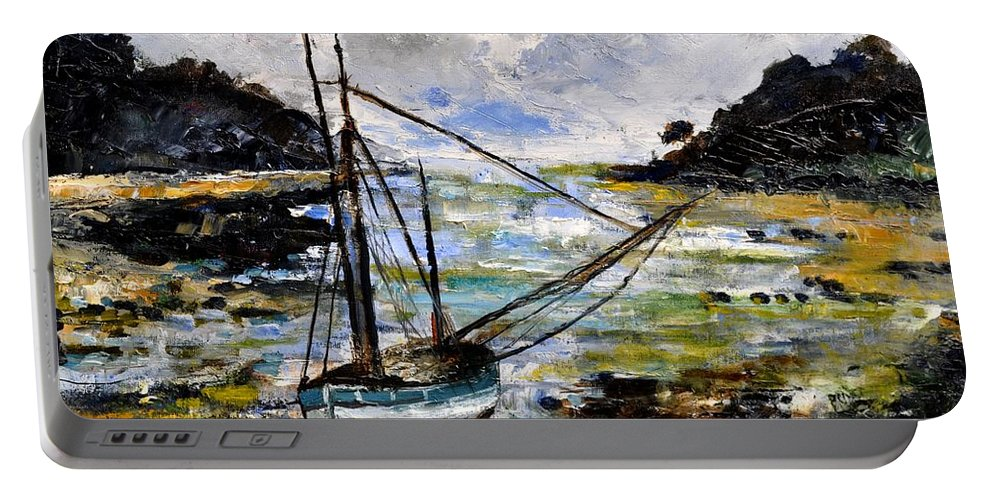 Seascape Portable Battery Charger featuring the painting Seascape 695232 by Pol Ledent
