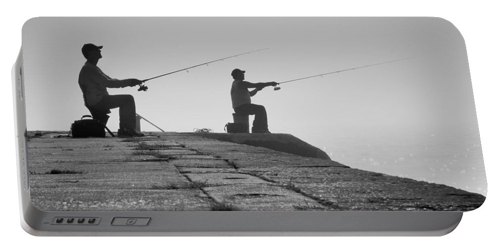 Fishermen Portable Battery Charger featuring the photograph Sentinels - Fishing In The Fog by Bill Pevlor