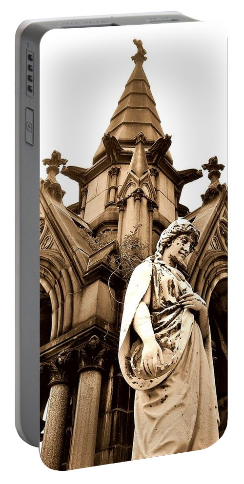 Forest Lawn Cemetery Portable Battery Charger featuring the photograph Sepia - Forrest Lawn Cemetery - Buffalo New York by J Vincent Scarpace