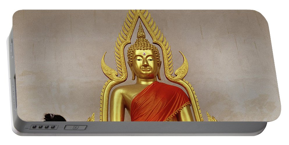 Wat Portable Battery Charger featuring the photograph Serene Buddha by Shaun Higson