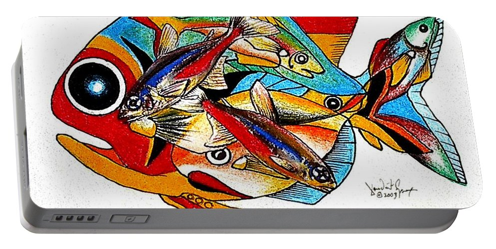 Fish Portable Battery Charger featuring the painting Seven Fish by J Vincent Scarpace
