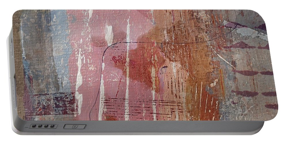 Abstract Portable Battery Charger featuring the mixed media Shabby Chic by Ruth Palmer