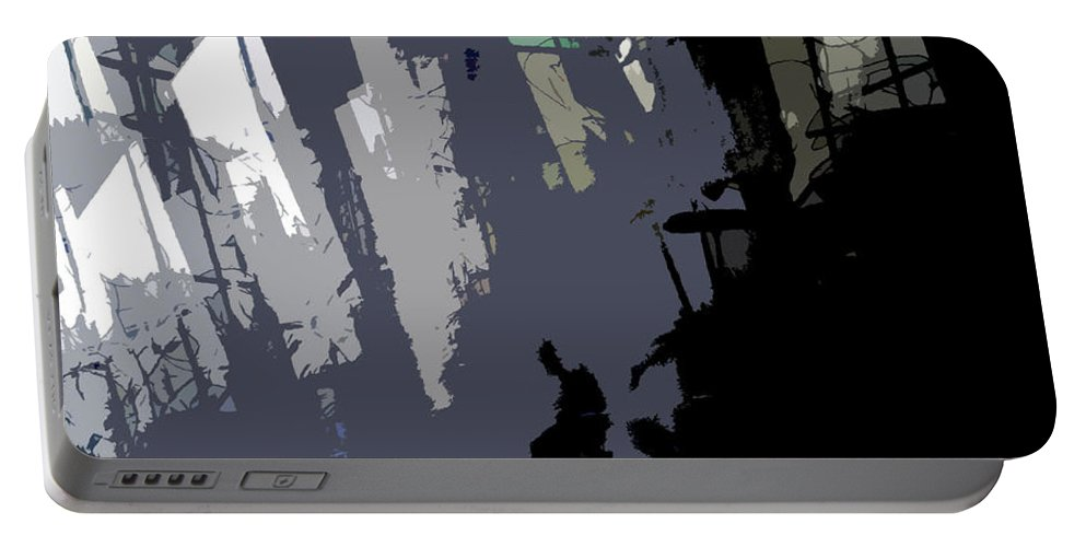 Abstract Artwork Portable Battery Charger featuring the painting Shades Of Gray by David Lee Thompson
