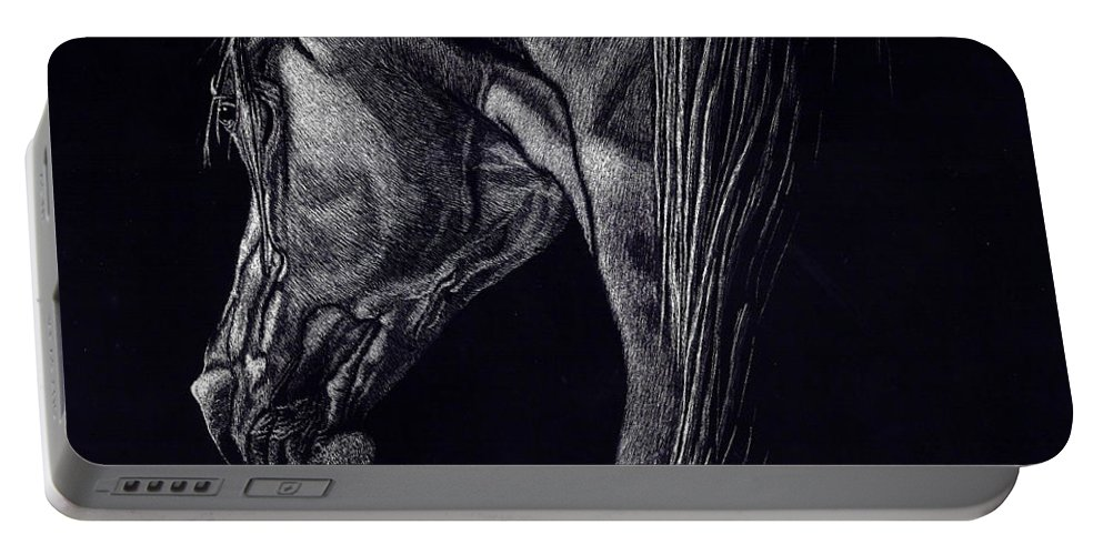 Horse Portable Battery Charger featuring the drawing Shadow by Yenni Harrison