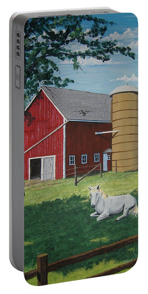 Landscape Portable Battery Charger featuring the painting Shady Rest by Norm Starks