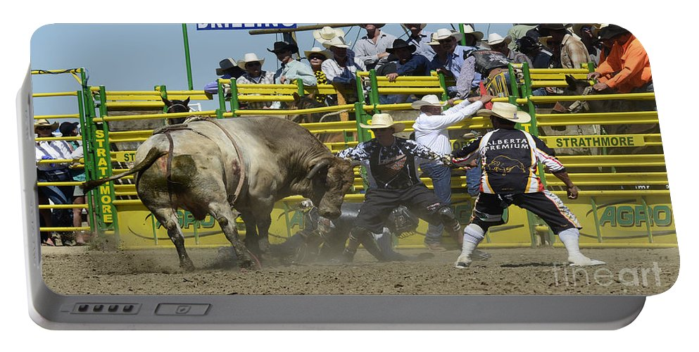 Rodeo Bull Riding Portable Battery Charger featuring the photograph Rodeo Shaking It Up by Bob Christopher
