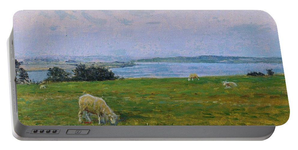 Sheep Portable Battery Charger featuring the painting Sheep Grazing by Viggo Johansen
