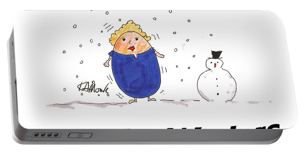 Cartoons Portable Battery Charger featuring the drawing Shelly Winters by Kev Moore
