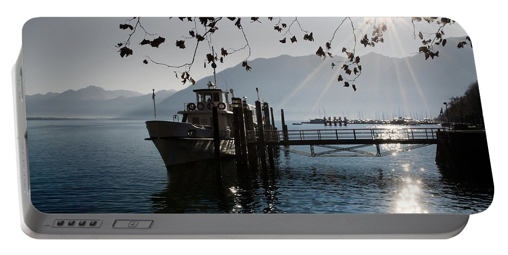 Ship Portable Battery Charger featuring the photograph Ship In Backlight by Mats Silvan