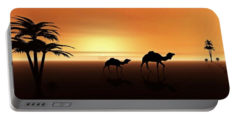 Camel Portable Battery Charger featuring the digital art Ships Of The Desert by David Dehner