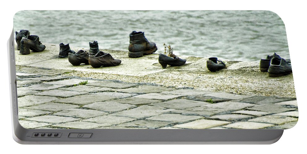 Shoes On The Danube Bank Portable Battery Charger featuring the photograph Shoes On The Danube Bank - Budapest by Jon Berghoff