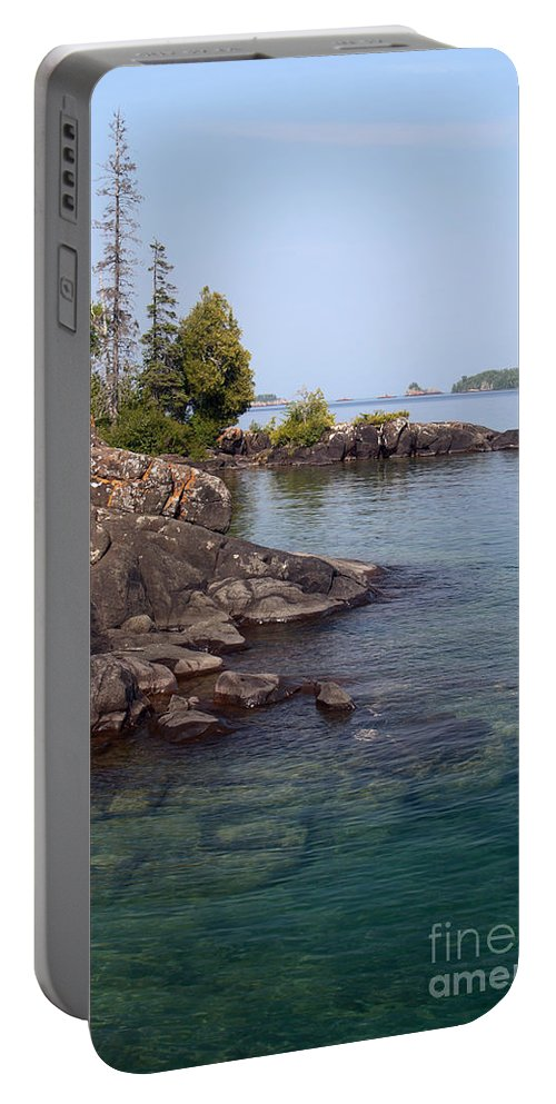 Lake Superior Portable Battery Charger featuring the photograph Shore Of Isle Royale by Ted Kinsman