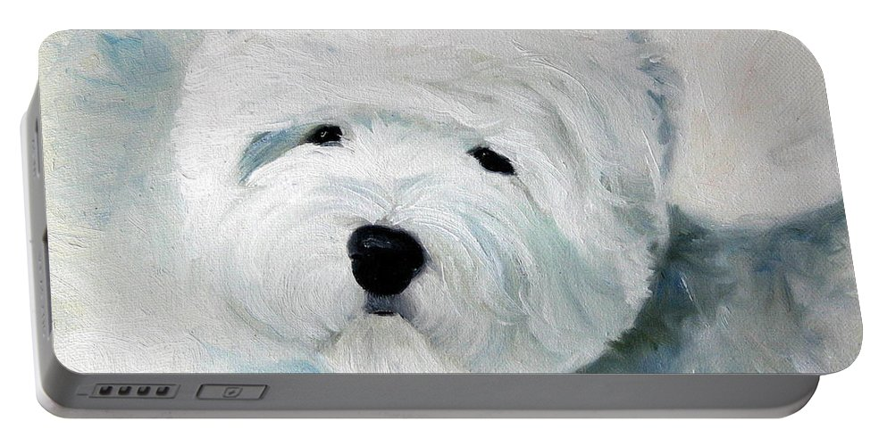 Art Portable Battery Charger featuring the painting Show Dog by Mary Sparrow