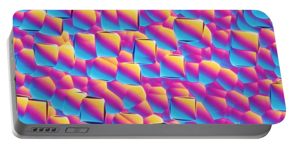 Magnified Portable Battery Charger featuring the photograph Silicon Wafer by M. I. Walker