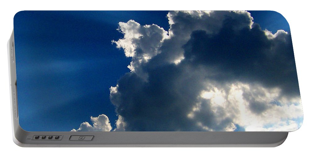 Clouds Portable Battery Charger featuring the digital art Silver Lining I by Dee Fabian