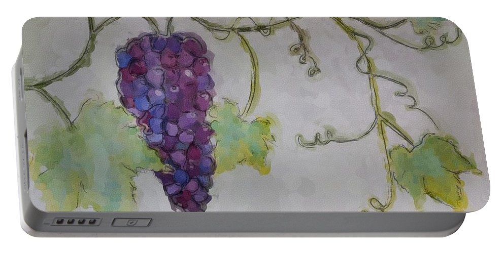 Watercolor Portable Battery Charger featuring the painting Simply Grape by Heidi Smith