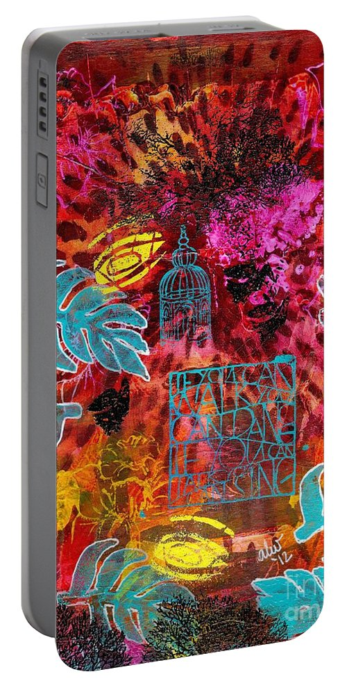 Acrylic Portable Battery Charger featuring the painting Singing For Freedom - Dancing For Joy by Angela L Walker