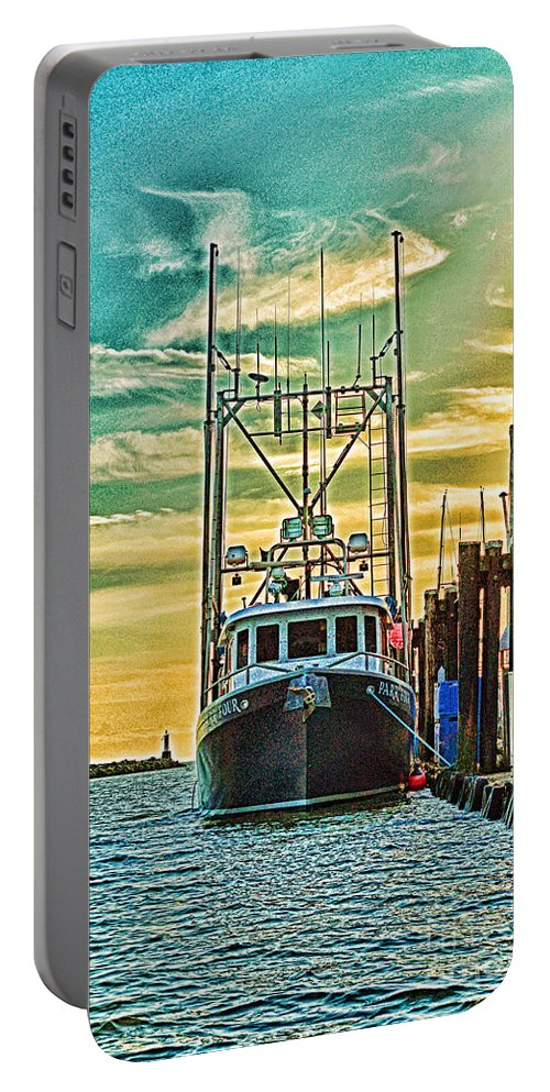Boats Portable Battery Charger featuring the photograph Single Fish Boat Hdr by Randy Harris