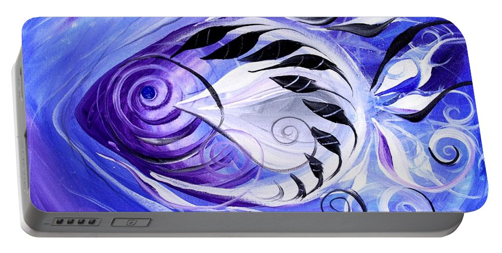 Fish Paintings Portable Battery Charger featuring the painting Singularis by J Vincent Scarpace