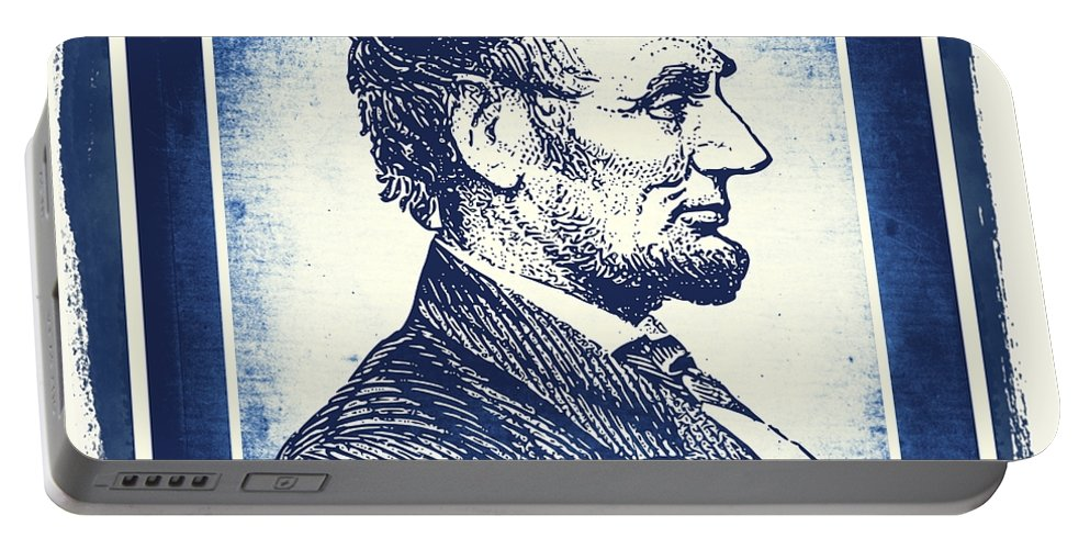 Usa Portable Battery Charger featuring the mixed media Sixteenth President Blue by Angelina Vick