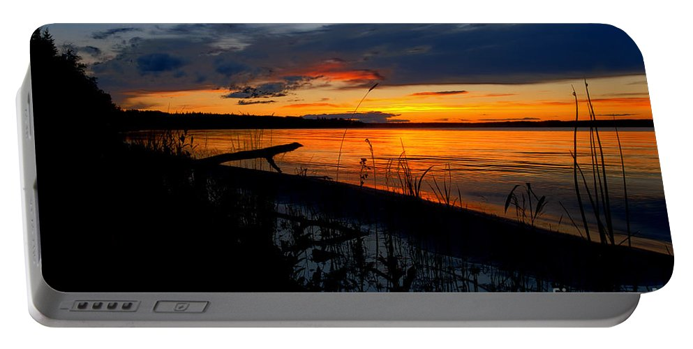 Skeleton Lake Portable Battery Charger featuring the photograph Skeloton Lake Sunset Hdr by Darcy Michaelchuk
